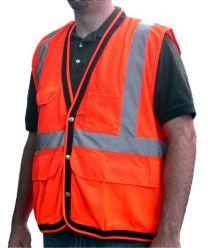 Dicke Safety Products V210 Surveyors Safety Vest, Snap-up - Orange - XL